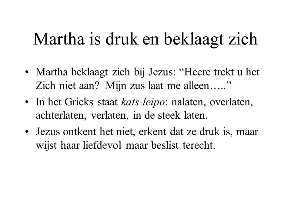 """Martha is druk en beklaagt zich Martha beklaagt zich bij Jezus: """"Heere trekt u het Zich niet aan? Mijn zus laat me alleen….."""" In het Grieks staat kats"""