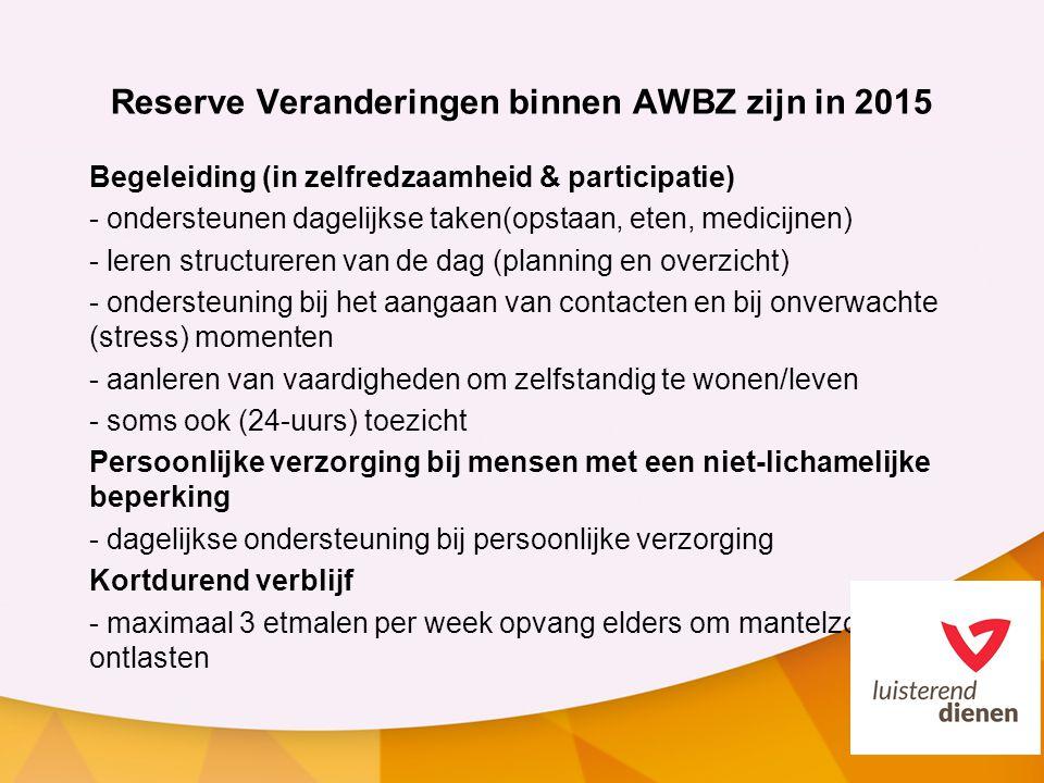 Reserve Veranderingen binnen AWBZ zijn in 2015 Begeleiding (in zelfredzaamheid & participatie) - ondersteunen dagelijkse taken(opstaan, eten, medicijn