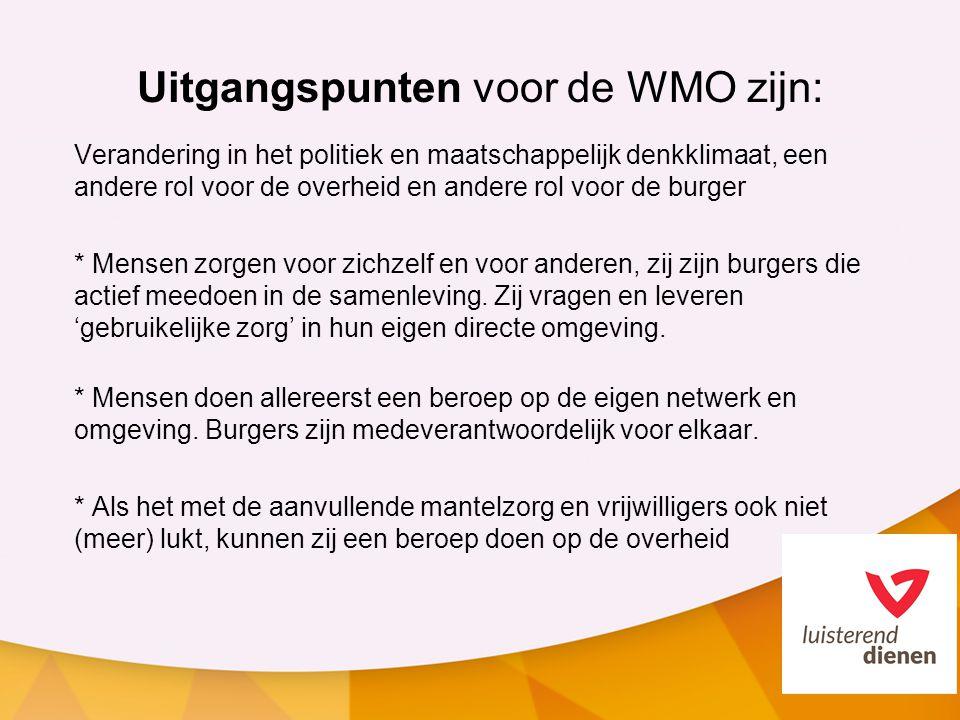 Uitgangspunten voor de WMO zijn: Verandering in het politiek en maatschappelijk denkklimaat, een andere rol voor de overheid en andere rol voor de bur