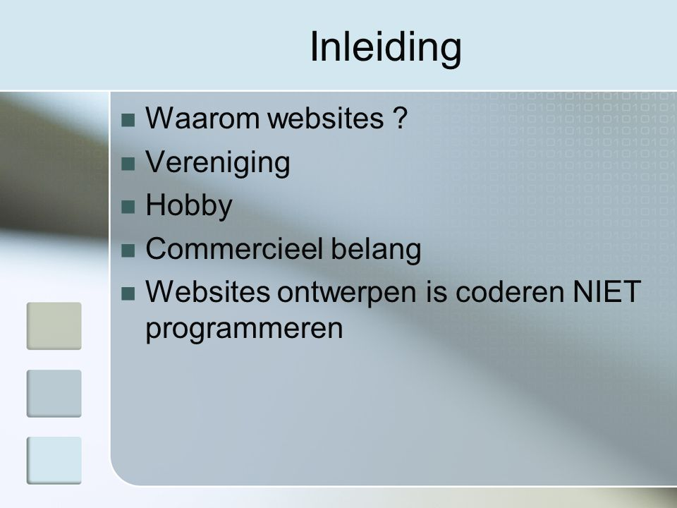Inleiding Waarom websites .