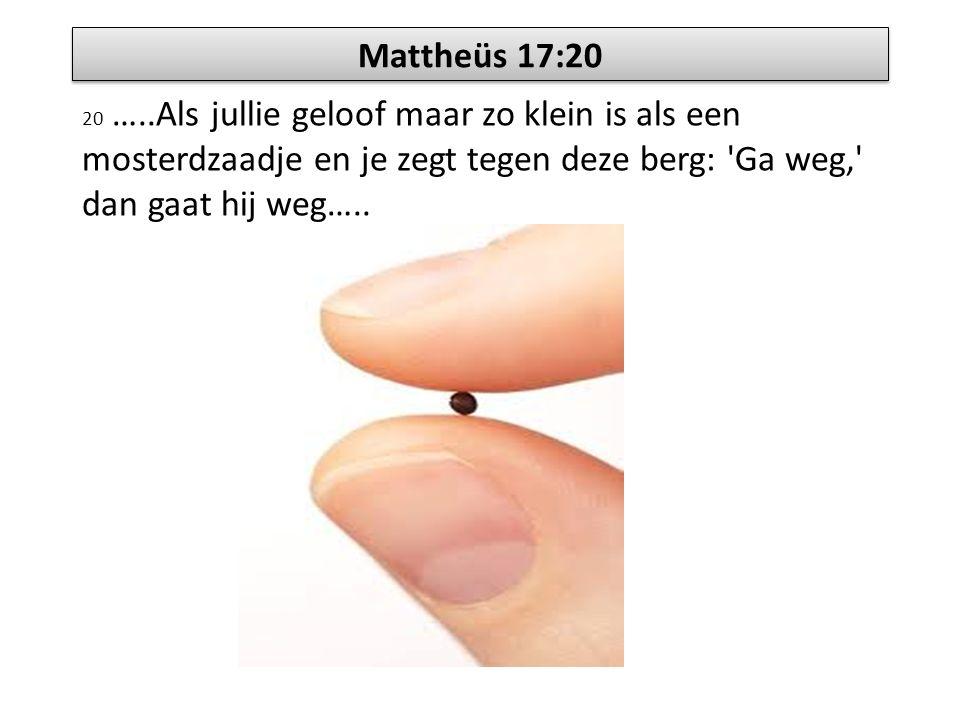 Mattheüs 17:20 20 …..Als jullie geloof maar zo klein is als een mosterdzaadje en je zegt tegen deze berg: 'Ga weg,' dan gaat hij weg…..