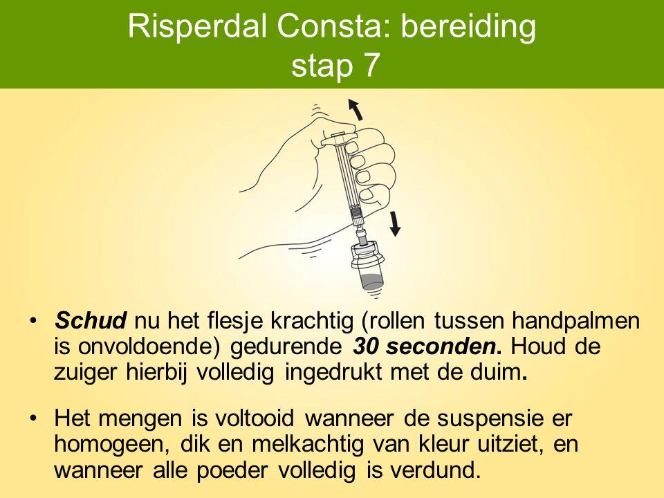 Risperdal Consta: bereiding stap 7 Schud nu het flesje krachtig (rollen tussen handpalmen is onvoldoende) gedurende 30 seconden. Houd de zuiger hierbi