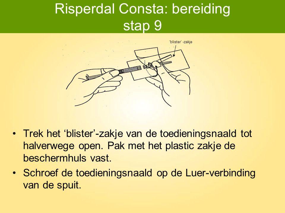 Risperdal Consta: bereiding stap 9 Trek het 'blister'-zakje van de toedieningsnaald tot halverwege open. Pak met het plastic zakje de beschermhuls vas