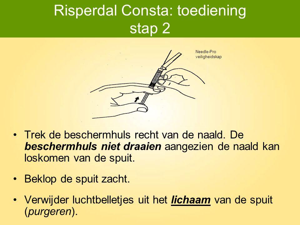 Risperdal Consta: toediening stap 2 Trek de beschermhuls recht van de naald. De beschermhuls niet draaien aangezien de naald kan loskomen van de spuit