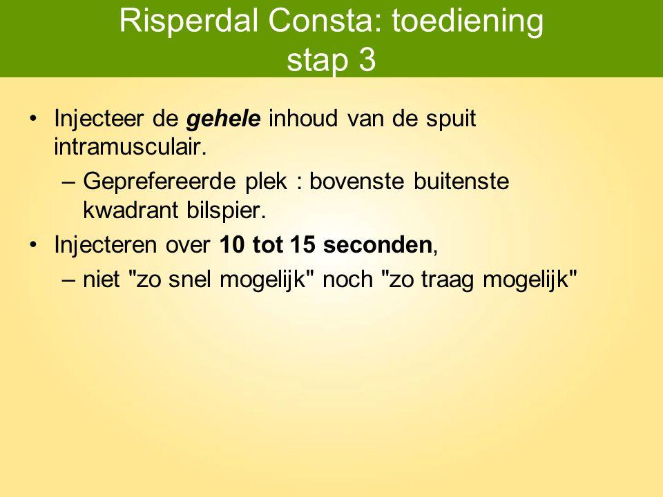 Risperdal Consta: toediening stap 3 Injecteer de gehele inhoud van de spuit intramusculair. –Geprefereerde plek : bovenste buitenste kwadrant bilspier
