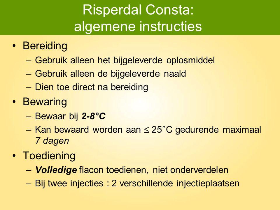 Risperdal Consta: algemene instructies Bereiding –Gebruik alleen het bijgeleverde oplosmiddel –Gebruik alleen de bijgeleverde naald –Dien toe direct n