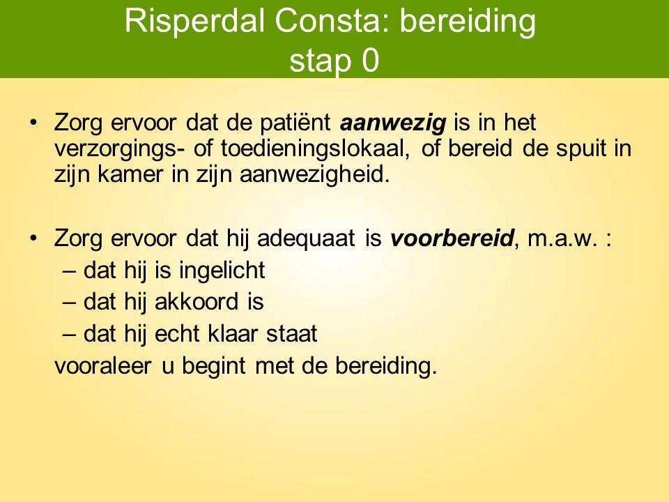 Risperdal Consta: bereiding stap 0 Zorg ervoor dat de patiënt aanwezig is in het verzorgings- of toedieningslokaal, of bereid de spuit in zijn kamer i