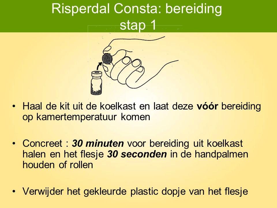 Risperdal Consta: bereiding stap 1 Haal de kit uit de koelkast en laat deze vóór bereiding op kamertemperatuur komen Concreet : 30 minuten voor bereid