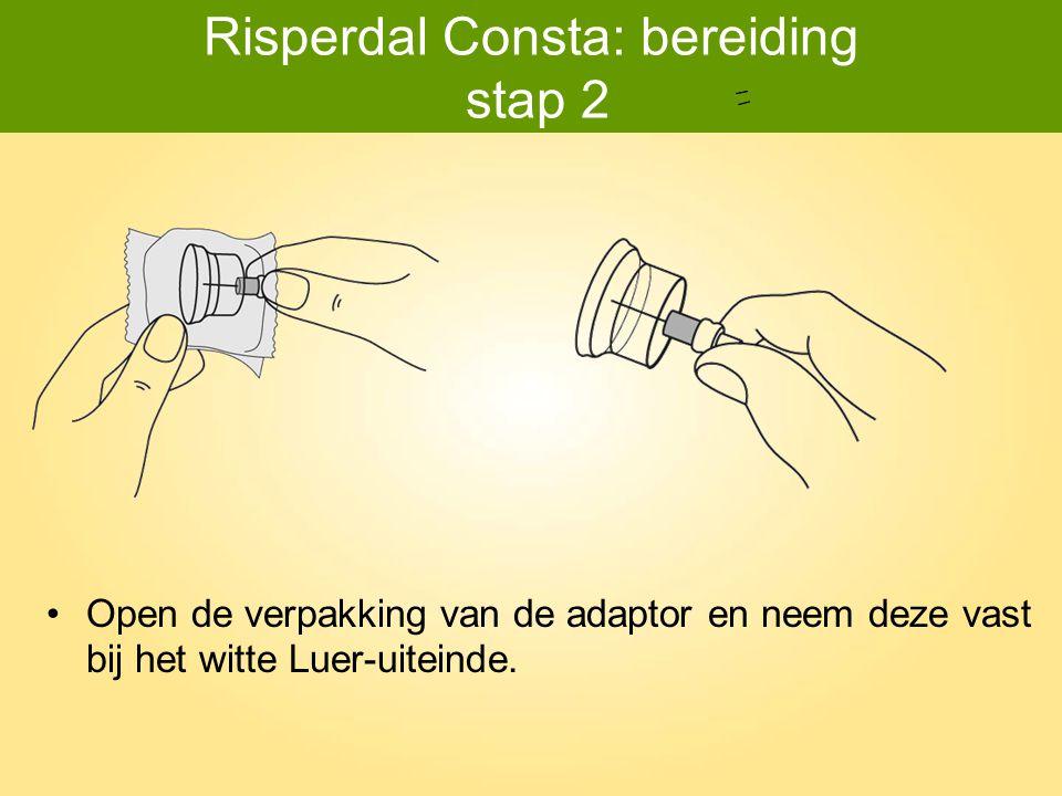 Risperdal Consta: toediening stap 4 Druk de naald – na toediening van de injectie – met één hand in de Needle-Pro veiligheidskap (druk zachtjes tegen een plat oppervlak).