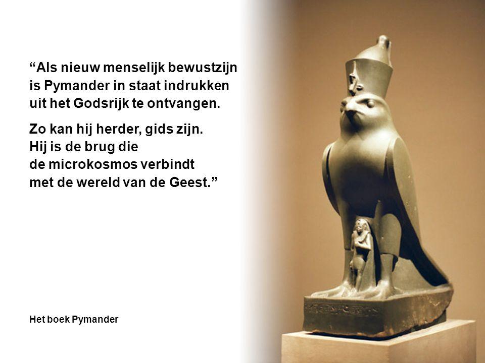 """""""Als nieuw menselijk bewustzijn is Pymander in staat indrukken uit het Godsrijk te ontvangen. Zo kan hij herder, gids zijn. Hij is de brug die de micr"""