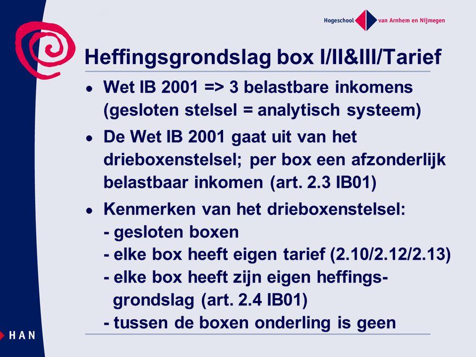 Heffingsgrondslag box I/II&III/Tarief Wet IB 2001 => 3 belastbare inkomens (gesloten stelsel = analytisch systeem) De Wet IB 2001 gaat uit van het dri