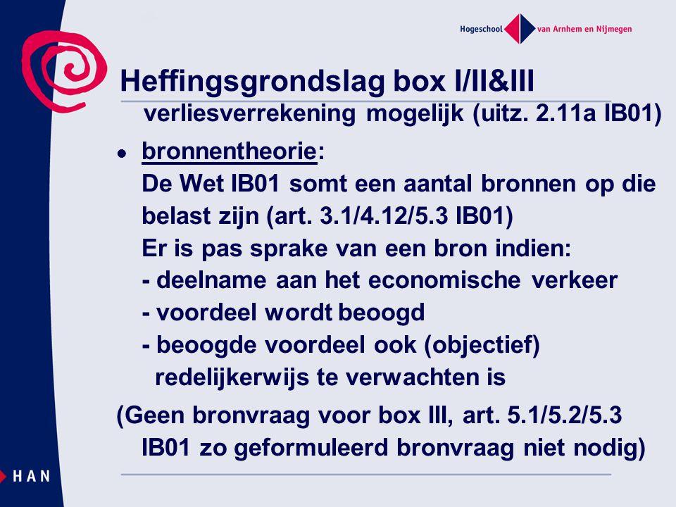 Heffingsgrondslag box I/II&III verliesverrekening mogelijk (uitz. 2.11a IB01) bronnentheorie: De Wet IB01 somt een aantal bronnen op die belast zijn (