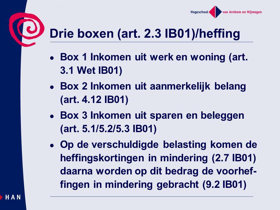 Drie boxen (art. 2.3 IB01)/heffing Box 1 Inkomen uit werk en woning (art. 3.1 Wet IB01) Box 2 Inkomen uit aanmerkelijk belang (art. 4.12 IB01) Box 3 I