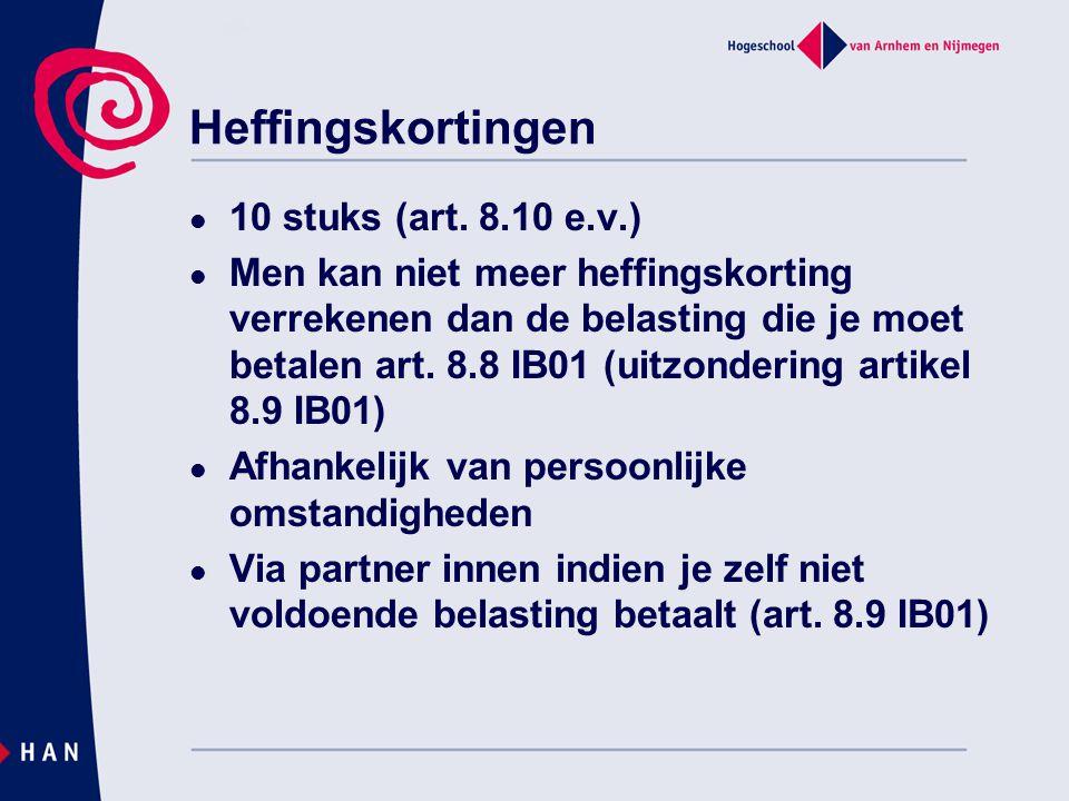 Algemene bepalingen box 1 Waardering niet in geld genoten loon: art.