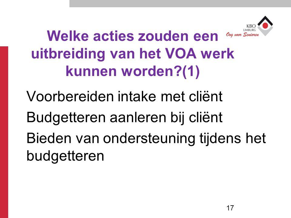 Welke acties zouden een uitbreiding van het VOA werk kunnen worden?(1) Voorbereiden intake met cliënt Budgetteren aanleren bij cliënt Bieden van onder