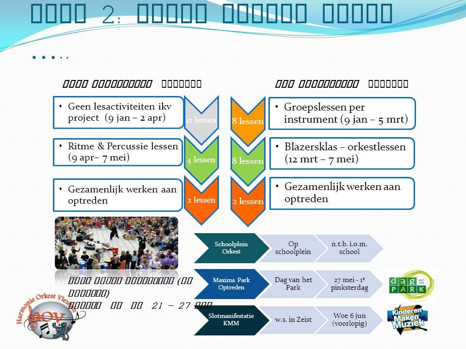 Fase 2: Samen muziek maken ….. 8 lessen Groepslessen per instrument (9 jan – 5 mrt) 8 lessen Blazersklas – orkestlessen (12 mrt – 7 mei) 2 lessen Geza