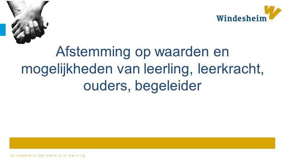 Windesheim zet kennis in werking Afstemming op waarden en mogelijkheden van leerling, leerkracht, ouders, begeleider