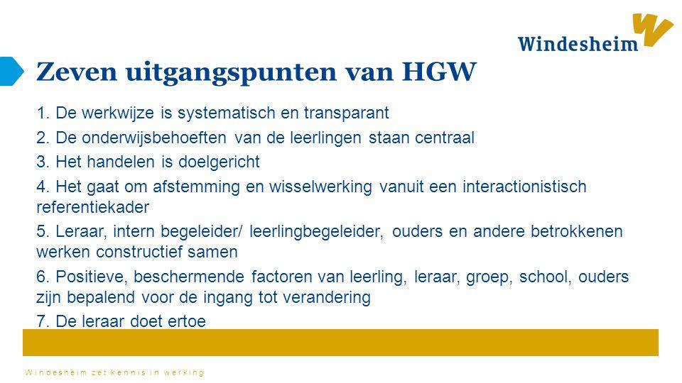 Windesheim zet kennis in werking Zeven uitgangspunten van HGW 1. De werkwijze is systematisch en transparant 2. De onderwijsbehoeften van de leerlinge