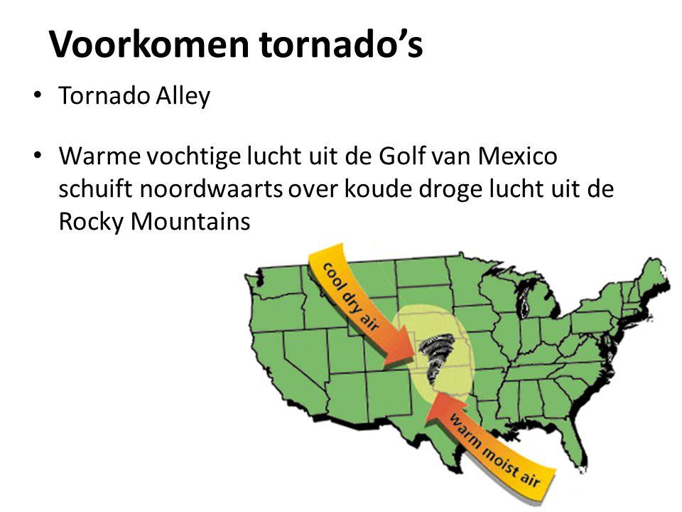 Voorkomen tornado's Tornado Alley Warme vochtige lucht uit de Golf van Mexico schuift noordwaarts over koude droge lucht uit de Rocky Mountains