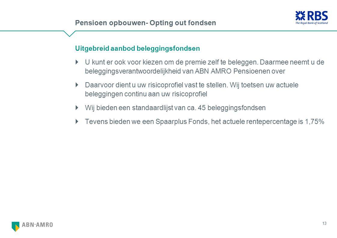Pensioen opbouwen- Opting out fondsen Uitgebreid aanbod beleggingsfondsen  U kunt er ook voor kiezen om de premie zelf te beleggen. Daarmee neemt u d