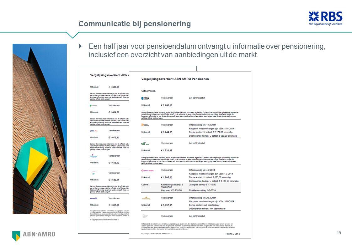 Communicatie bij pensionering 15  Een half jaar voor pensioendatum ontvangt u informatie over pensionering, inclusief een overzicht van aanbiedingen uit de markt.