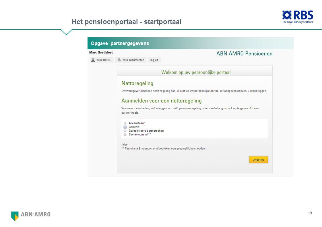 Het pensioenportaal - startportaal 19 Opgave partnergegevens