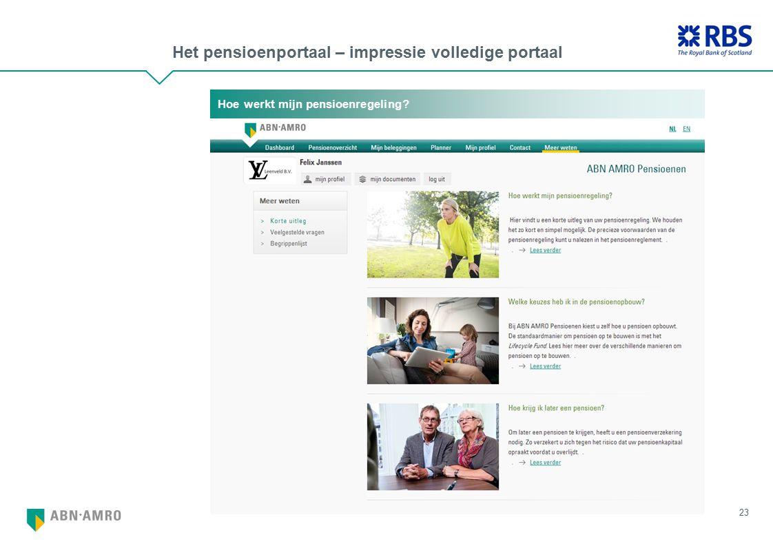 Het pensioenportaal – impressie volledige portaal 23 Hoe werkt mijn pensioenregeling?