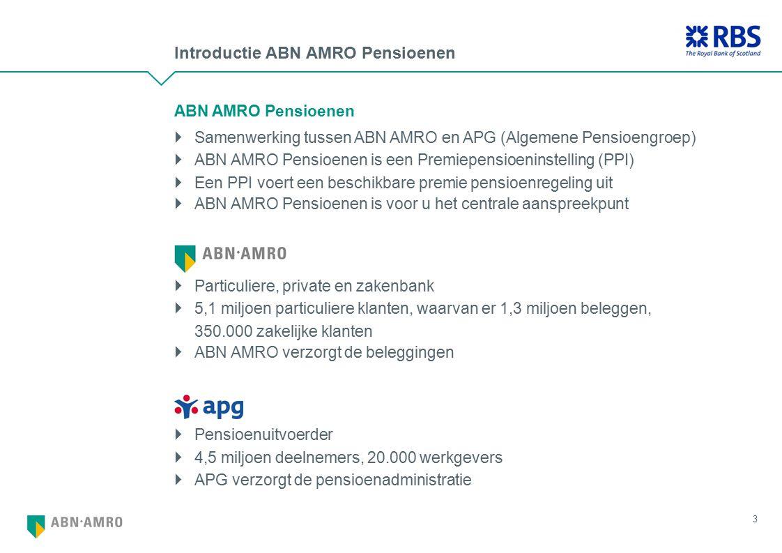 Introductie ABN AMRO Pensioenen 3 ABN AMRO Pensioenen  Samenwerking tussen ABN AMRO en APG (Algemene Pensioengroep)  ABN AMRO Pensioenen is een Premiepensioeninstelling (PPI)  Een PPI voert een beschikbare premie pensioenregeling uit  ABN AMRO Pensioenen is voor u het centrale aanspreekpunt  Particuliere, private en zakenbank  5,1 miljoen particuliere klanten, waarvan er 1,3 miljoen beleggen, 350.000 zakelijke klanten  ABN AMRO verzorgt de beleggingen  Pensioenuitvoerder  4,5 miljoen deelnemers, 20.000 werkgevers  APG verzorgt de pensioenadministratie