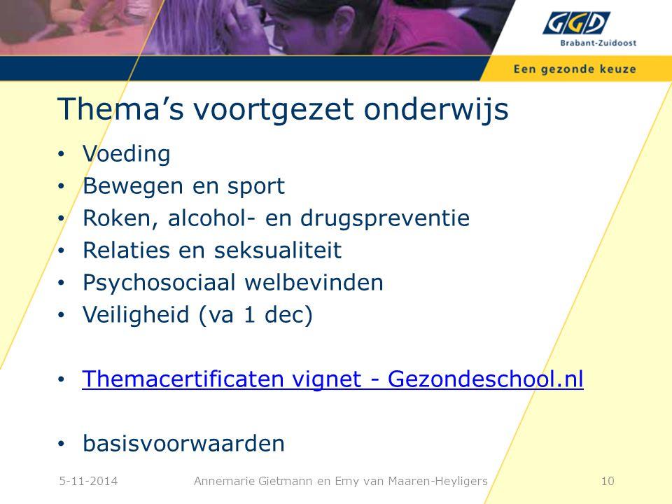 10 Thema's voortgezet onderwijs Voeding Bewegen en sport Roken, alcohol- en drugspreventie Relaties en seksualiteit Psychosociaal welbevinden Veiligheid (va 1 dec) Themacertificaten vignet - Gezondeschool.nl basisvoorwaarden Annemarie Gietmann en Emy van Maaren-Heyligers5-11-2014