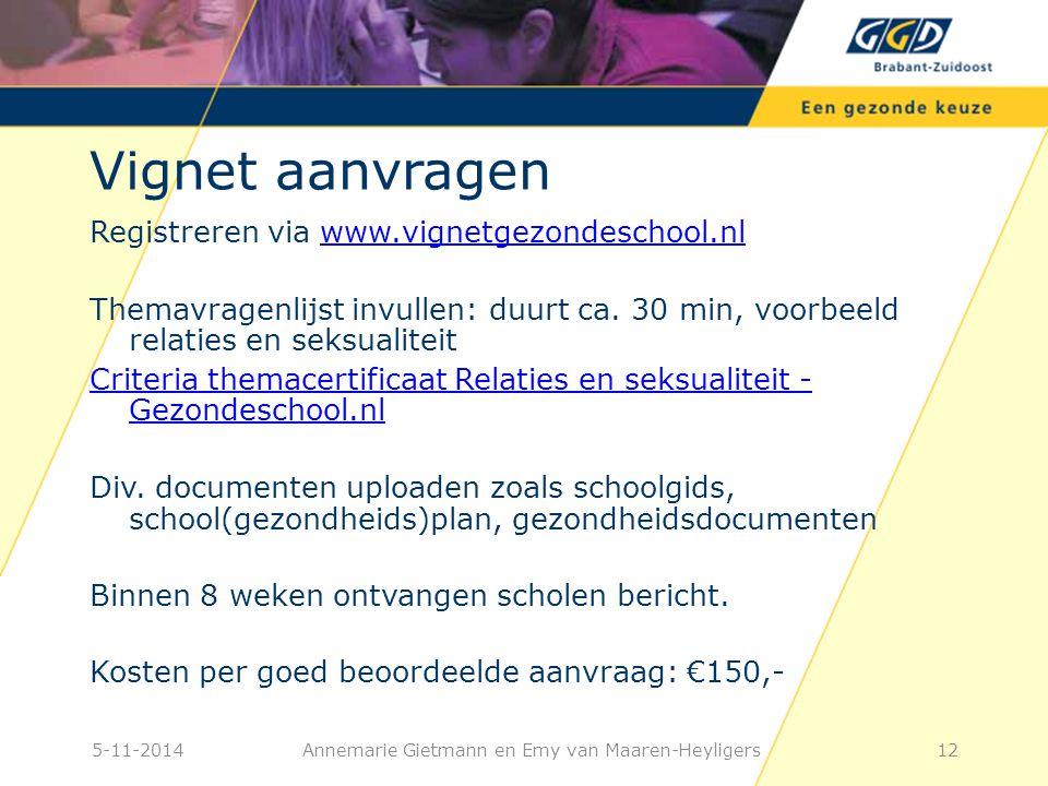Vignet aanvragen Registreren via www.vignetgezondeschool.nlwww.vignetgezondeschool.nl Themavragenlijst invullen: duurt ca.