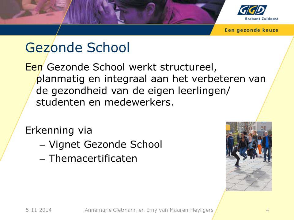 4 Gezonde School Een Gezonde School werkt structureel, planmatig en integraal aan het verbeteren van de gezondheid van de eigen leerlingen/ studenten en medewerkers.