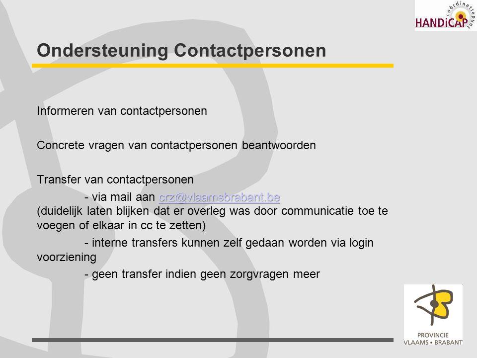 Ondersteuning Contactpersonen Informeren van contactpersonen Concrete vragen van contactpersonen beantwoorden Transfer van contactpersonen crz@vlaamsb