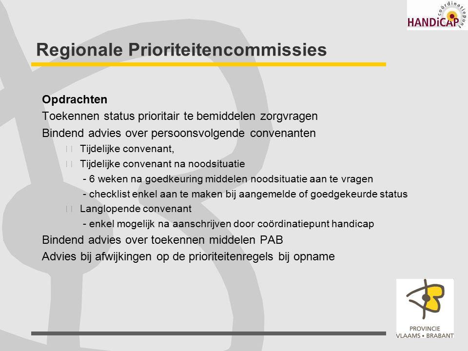 Regionale Prioriteitencommissies Opdrachten Toekennen status prioritair te bemiddelen zorgvragen Bindend advies over persoonsvolgende convenanten Tijd