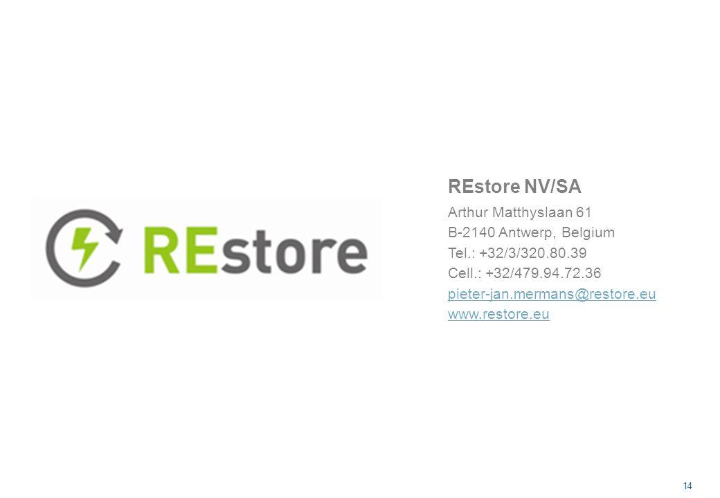 14 REstore NV/SA Arthur Matthyslaan 61 B-2140 Antwerp, Belgium Tel.: +32/3/320.80.39 Cell.: +32/479.94.72.36 pieter-jan.mermans@restore.eu www.restore.eu