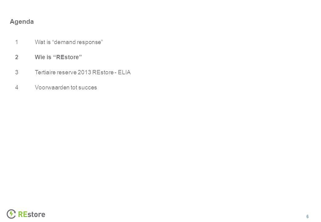 6 Agenda 1Wat is demand response 2Wie is REstore 3Tertiaire reserve 2013 REstore - ELIA 4Voorwaarden tot succes