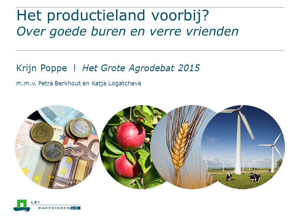 12,5% export buiten EU zijn productiemiddelen  Export zaaigoed: € 1,1 miljard binnen EU buiten EU  Export productiemiddelen (totaal): € 3,1 miljard binnen EU buiten EU  Kassen buiten de EU door Nederland geleverd 80 % 12 50 % 55 % 45