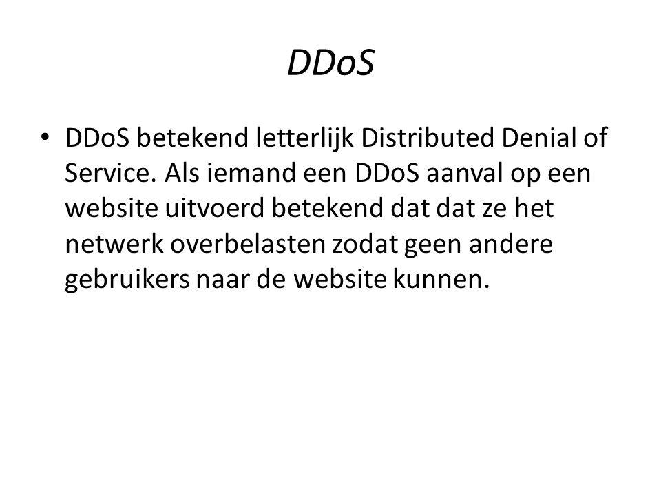 DDos Zie het als een snelweg waar plotseling heel veel auto's overheen gaan, wat er dan gebeurd is dat er file ontstaat.