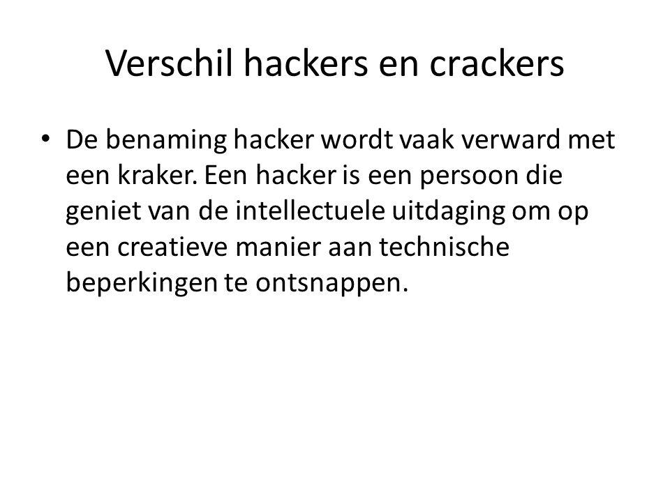 Verschil hackers en crackers Maar in het dagelijks spraakgebruik is het meestal iemand die inbreekt in computersystemen.