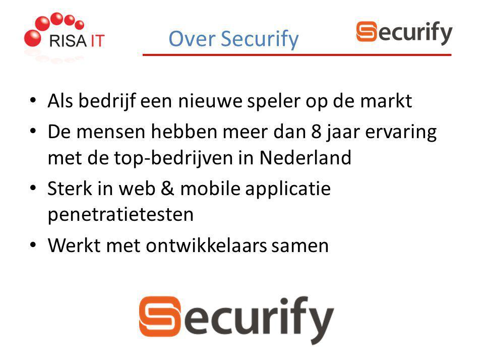 Over Securify Als bedrijf een nieuwe speler op de markt De mensen hebben meer dan 8 jaar ervaring met de top-bedrijven in Nederland Sterk in web & mob