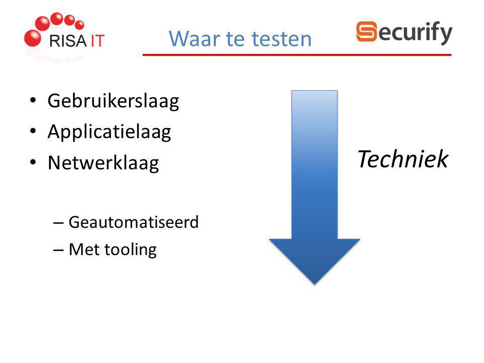 Waar te testen Gebruikerslaag Applicatielaag Netwerklaag – Geautomatiseerd – Met tooling Techniek