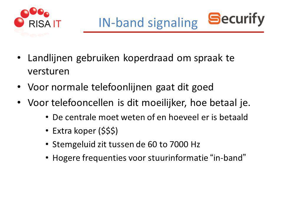 IN-band signaling Landlijnen gebruiken koperdraad om spraak te versturen Voor normale telefoonlijnen gaat dit goed Voor telefooncellen is dit moeilijk