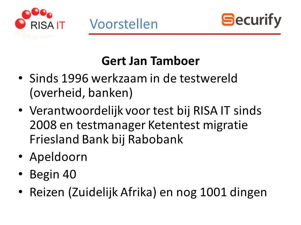 Gert Jan Tamboer Sinds 1996 werkzaam in de testwereld (overheid, banken) Verantwoordelijk voor test bij RISA IT sinds 2008 en testmanager Ketentest mi