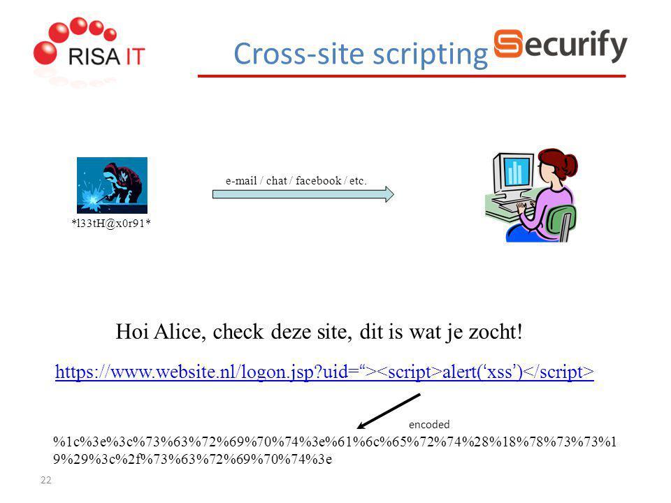 22 e-mail / chat / facebook / etc. *l33tH@x0r91* Hoi Alice, check deze site, dit is wat je zocht! https://www.website.nl/logon.jsp?uid= https://www.we