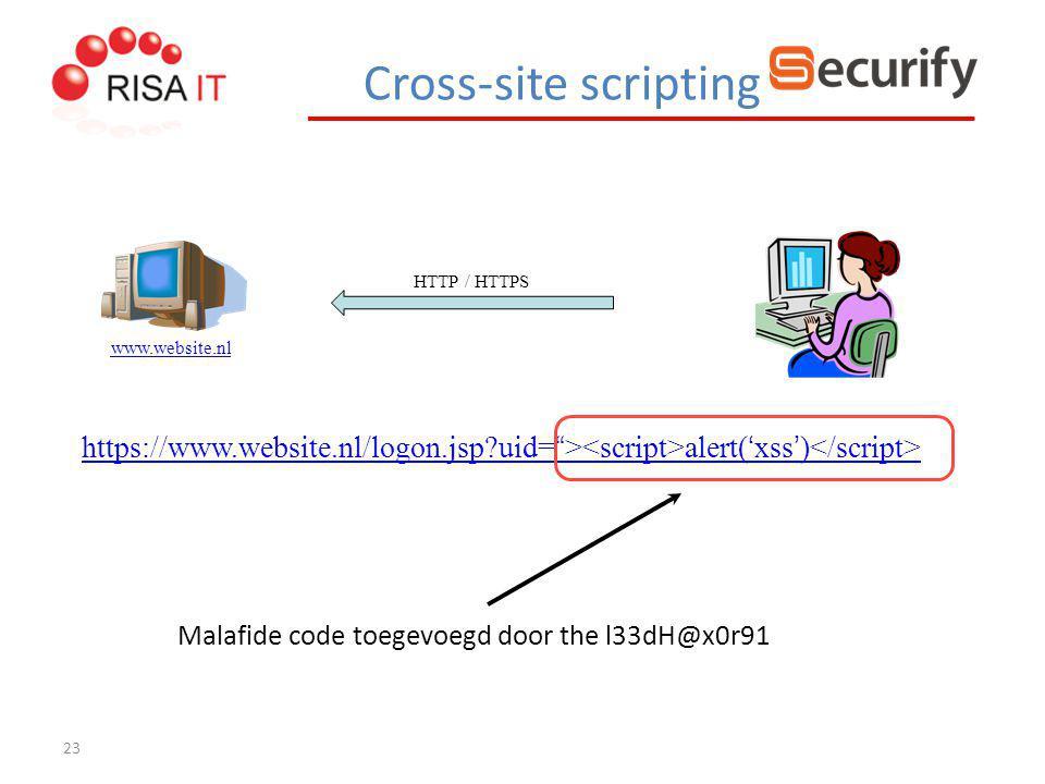 "23 HTTP / HTTPS www.website.nl https://www.website.nl/logon.jsp?uid= https://www.website.nl/logon.jsp?uid= "" > alert( ' xss ' ) Malafide code toegevoe"
