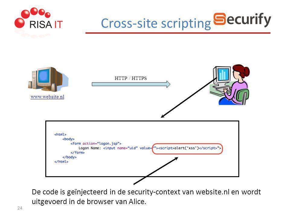 24 HTTP / HTTPS www.website.nl De code is geïnjecteerd in de security-context van website.nl en wordt uitgevoerd in de browser van Alice. Cross-site s