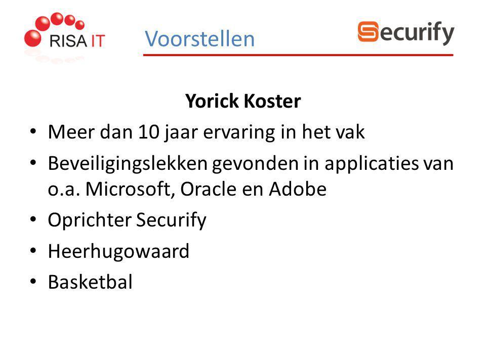 Yorick Koster Meer dan 10 jaar ervaring in het vak Beveiligingslekken gevonden in applicaties van o.a. Microsoft, Oracle en Adobe Oprichter Securify H