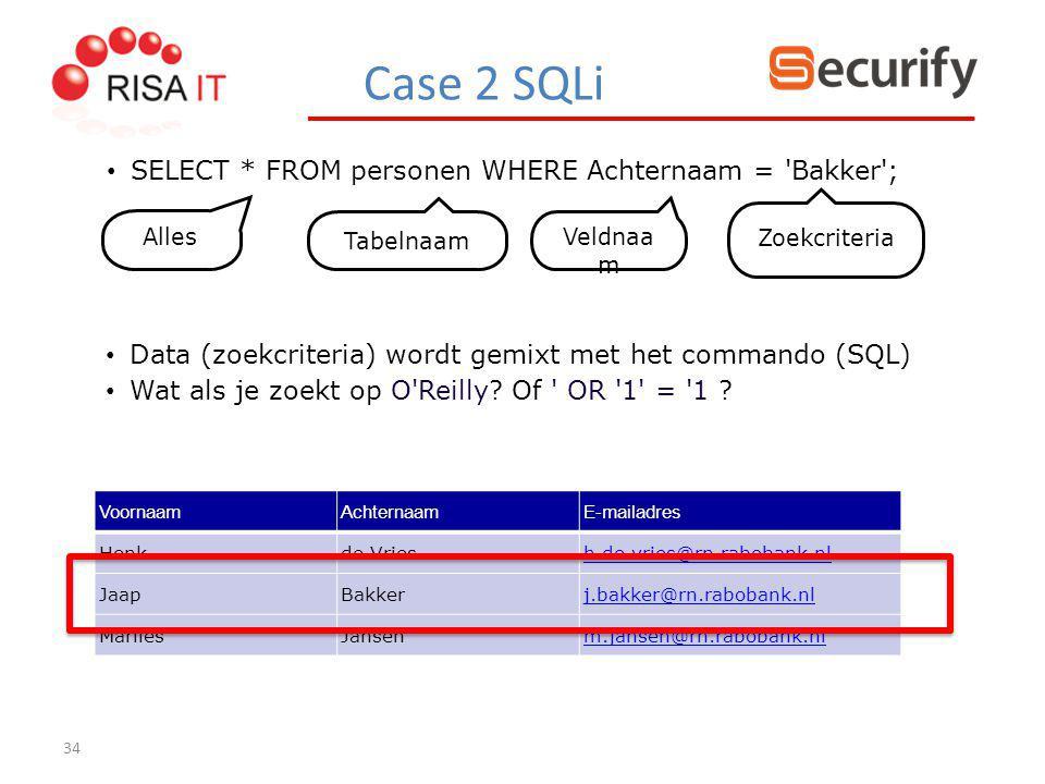 34 SELECT * FROM personen WHERE Achternaam = 'Bakker'; VoornaamAchternaamE-mailadres Henkde Vriesh.de.vries@rn.rabobank.nl JaapBakkerj.bakker@rn.rabob