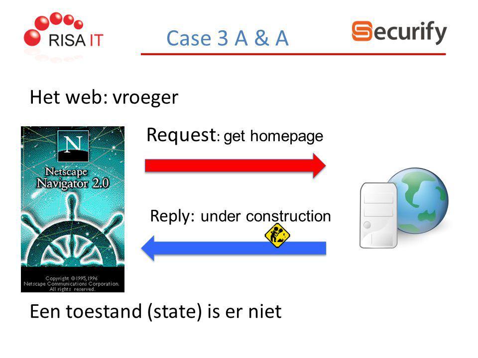 Case 3 A & A Het web: vroeger Request : get homepage Een toestand (state) is er niet Reply: under construction