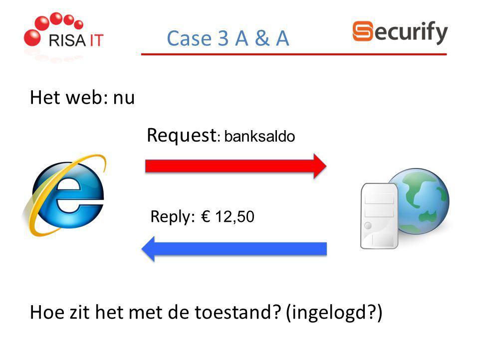Case 3 A & A Het web: nu Request : banksaldo Hoe zit het met de toestand? (ingelogd?) Reply: € 12,50