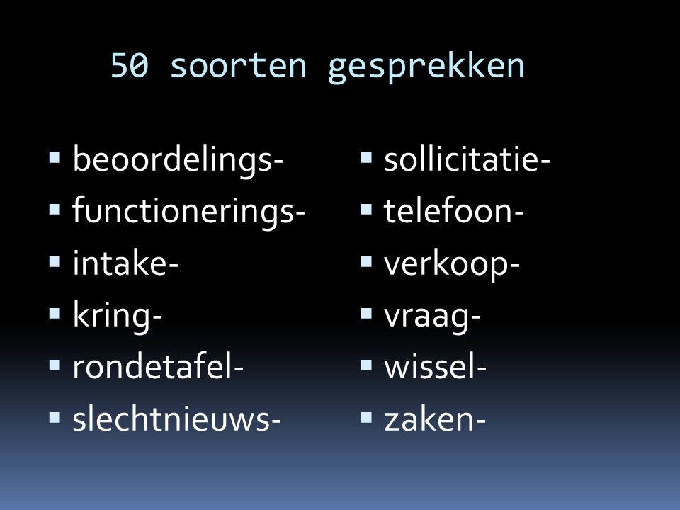 50 soorten gesprekken  beoordelings-  functionerings-  intake-  kring-  rondetafel-  slechtnieuws-  sollicitatie-  telefoon-  verkoop-  vraa